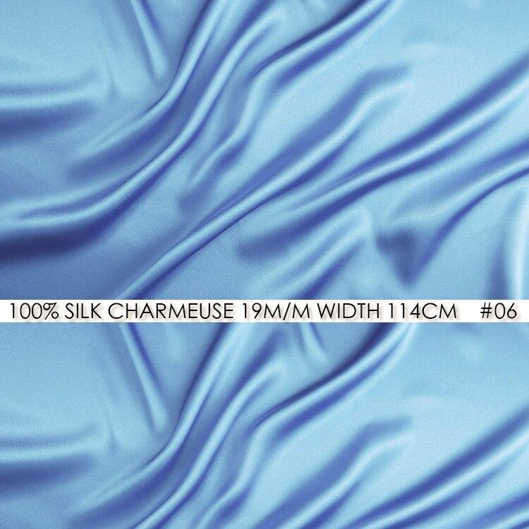 best website 21fa0 0c2cf 100% seda CHARMEUSE satén 114 cm anchura 19 mommes SEDA DE MORA pura China  decoración del vestido de boda azul cielo NO 06