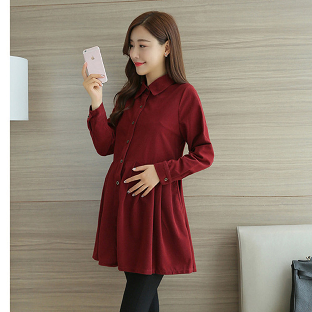 Autumn New Fashion Corduroy pregnant women clothing corduroy blouse skirt of the new autumn and winter