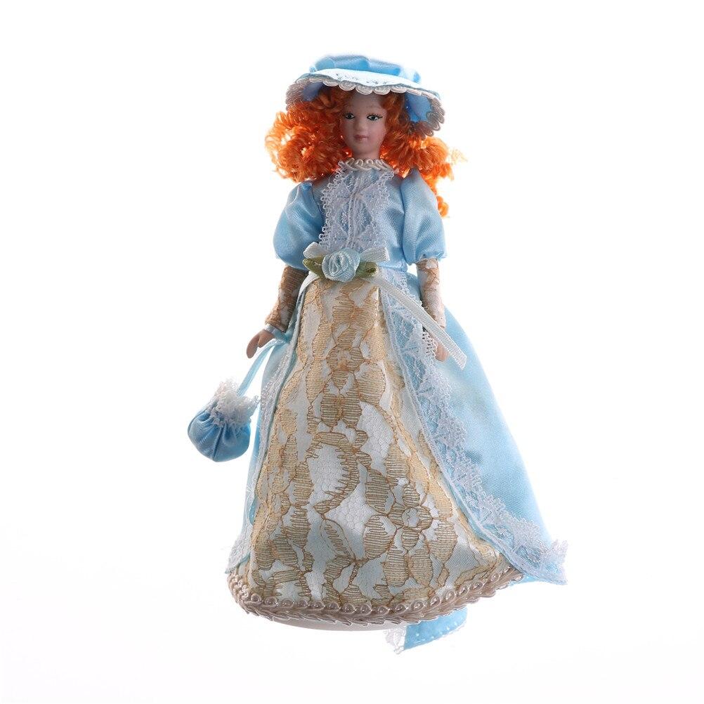 Cartoon Porcelain Doll Eat to Play Dodo Shokugan Model Western-style Dress Dolls 1:12 Dollhouse Miniature