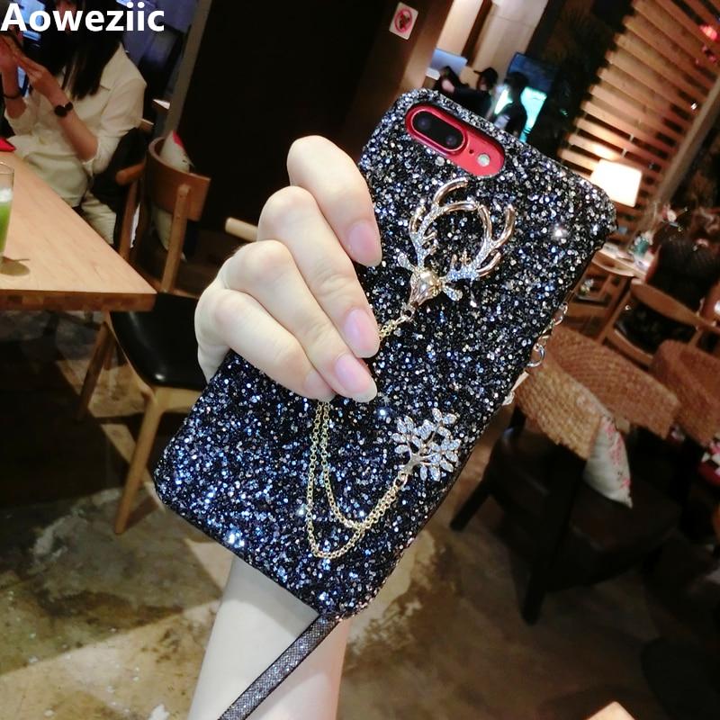 Alce Aoweziic diamante escudo do telefone Móvel Para o iphone X XS MAX XR 7 8 6 s Mais protetora manga cordão queda dura Glitter lantejoulas