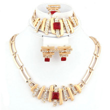 2016 New Arrival Trend African Romantic Rhinestone jewelry 18K Gold Plate Necklace Earrings Set Bridal Wedding Jewelry Sets