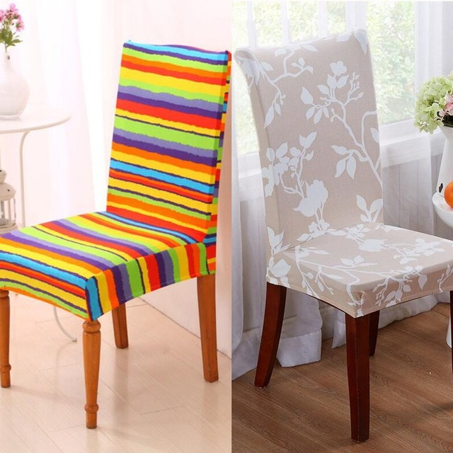 Striped Chair Covers Dining Rooms Folding Table Set 1pcs Seat Cover Decor Stripes Pattern Stretch Room Removable