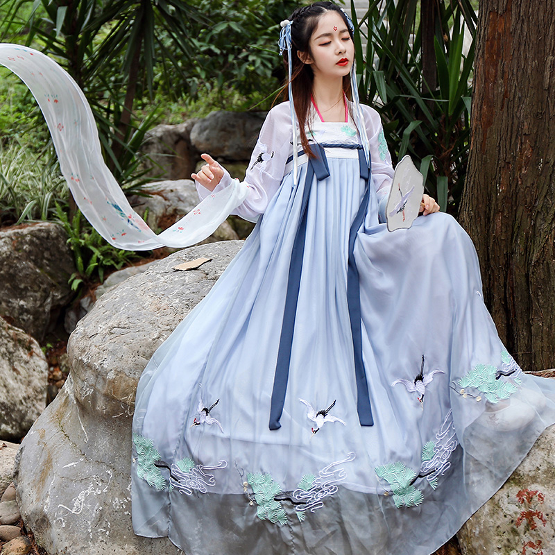 Hanfu 2019 Summer New Hanfu Women'S National Clothes Chinese Ancient Female Costume Lady Chinese Folk Dance Stage Dress DL3762