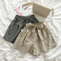 Summer Korean Women Shorts Skirt Bow Lace Up High Waisted Plaid Khaki Black Short Wide Leg