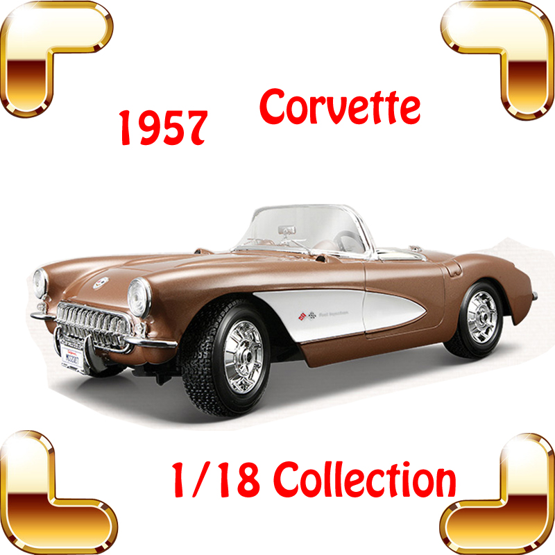 New Year Gift 1957 Corvette 1/18 Big Metal Classic Car Vehicle Scale Model Collection Alloy Luxury Delicate Present Toys Diecast new year gift gallargo 1 18 large model metal car metallic scale simulation diecast alloy collection toys vehicle present