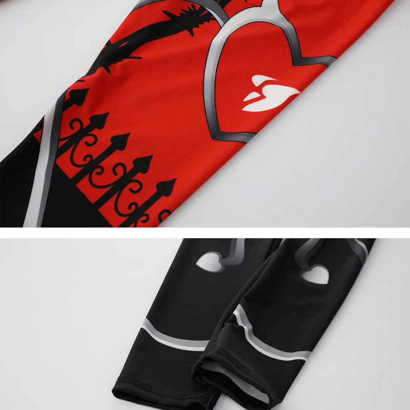 New Sexy Heart Print Leggings Women Red Black Patchwork Sporting Pants Fashion Printed Women's Fitness Leggings 5