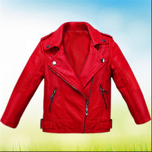 Children's clothing female child spring 2016 spring and autumn clothing leather outerwear child jacket 4 — 12 girl top