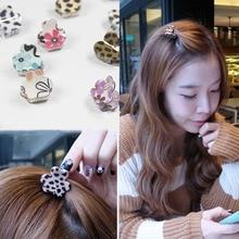 2PCS Fashion Popular Schoolgirl Lovely Flower Claw Type Small Hair Clip Leopard Grain Wave Dot Hair Clip Bang Clip Headdress недорого