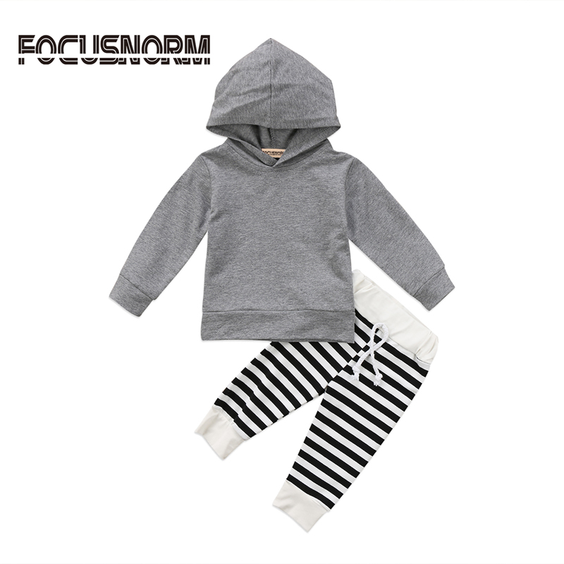 New Casual Newborn Baby Boys Girls Long Sleeve Hooded Coat Tops + Striped Long Pants Outfits Set