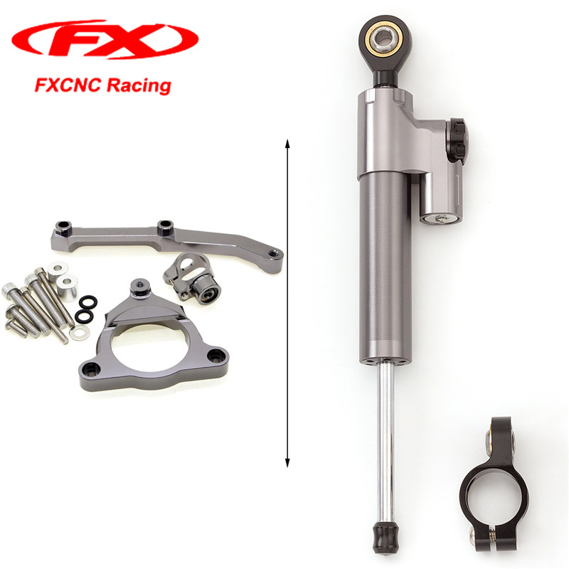 Grey FXCNC Motorcycle Steering Stabilizer Damper with Brackets Mounting Kits for Kawasaki Z800 13-15 2013 2014 2015