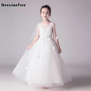Tutu-Dress Ball-Gown Flower Bridesmaid Wedding Party Embroidered Girls White Princess