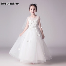 2019 new kids girls embroidered white flower formal party ball gown prom princess bridesmaid wedding children first tutu dress kids girls lace flower bow formal party ball gown prom princess bridesmaid wedding children tutu dress fashion grown