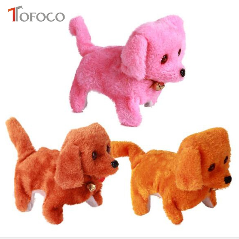 TOFOCO Lovely Electronic Pet Dog Toys Battery Operated Sounding Plush Dog Walking Toy Animal for Kid Best Gift