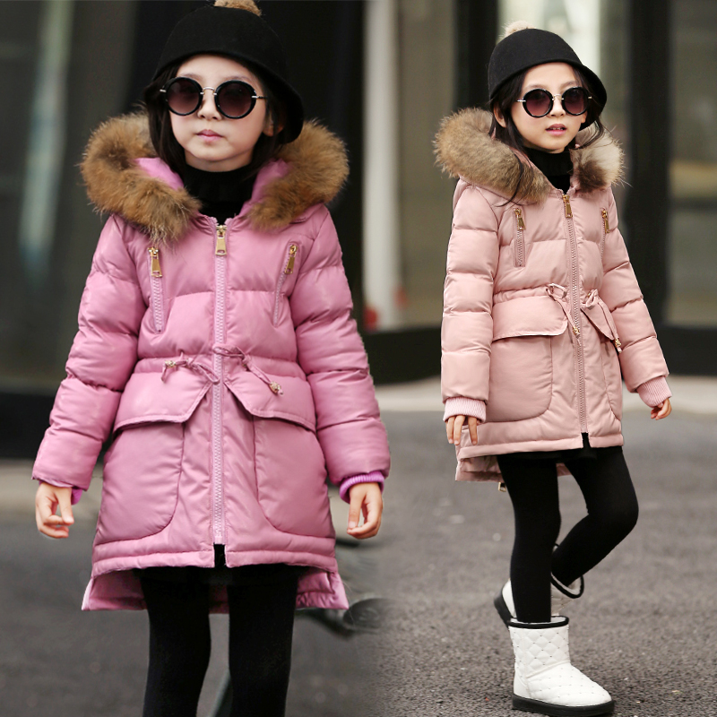 Children with girls cotton coat in the winter long thickening cotton-padded jacket pu fur collar cotton-padded jacket winter jacket female parkas hooded fur collar long down cotton jacket thicken warm cotton padded women coat plus size 3xl k450