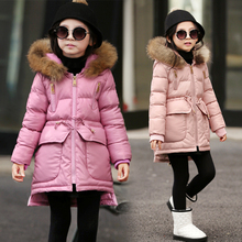 Children with girls cotton coat in the winter long thickening cotton padded jacket pu fur collar