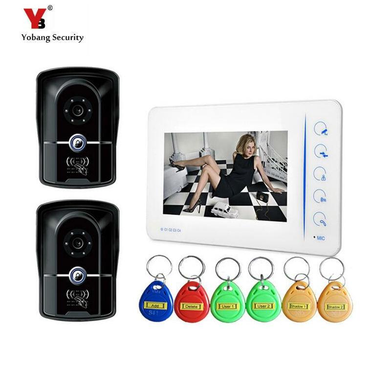 Yobang Security freeship 7Color Monitor Home Kit max up to 200pcs ID cards video door phone Door Eye Doorbell Video door Camera