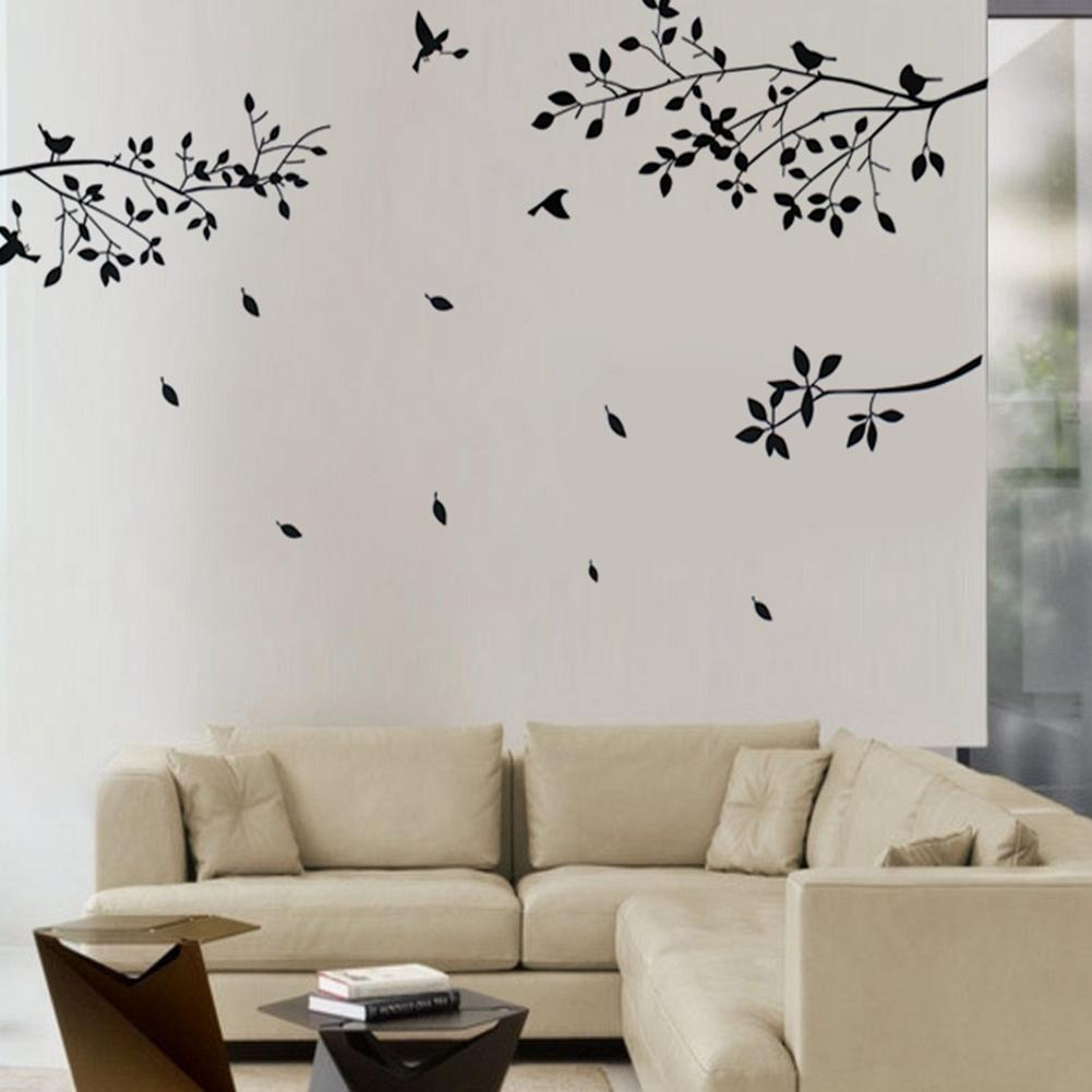 aliexpress com buy fashion black tree branches birds leaves home aliexpress com buy fashion black tree branches birds leaves home wall stickers living room decals home room decoration wall craft from reliable tree