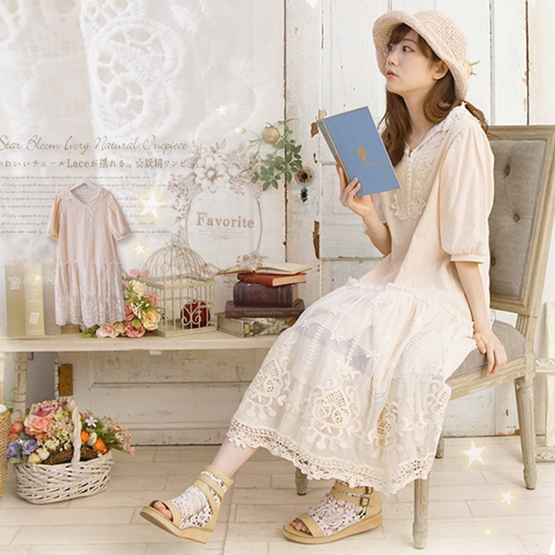 Spring Summer Sweet Hollow Out Dress Women Mori Girl Harajuku Lace Floral Embroidery Half Sleeved Female
