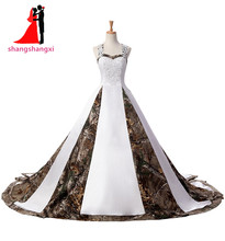 Stunning Plus Size Long White Camouflage Wedding Dresses 2017 Hot Selling Appliques Beads Cheap Camo Wedding Dress Real Picture(China)