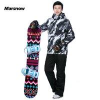Marsnow 2018 новый мужской лыжный костюм теплая одежда лыжный сноуборд куртка + брюки костюм ветрозащитная Водонепроницаемая зимняя одежда мужс