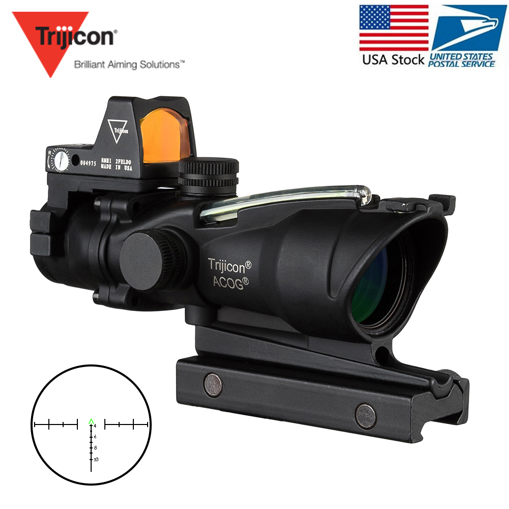 Trijicon Acog 4x32 Optic Scope Riflescope Red Cahevron Reticle Fiber Green Illuminated Optic Sight With Rmr Mini Red Dot SightTrijicon Acog 4x32 Optic Scope Riflescope Red Cahevron Reticle Fiber Green Illuminated Optic Sight With Rmr Mini Red Dot Sight