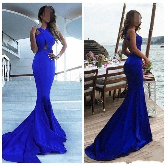 Comprar Vestidos De Noche Azul Real Sirena Con Espalda