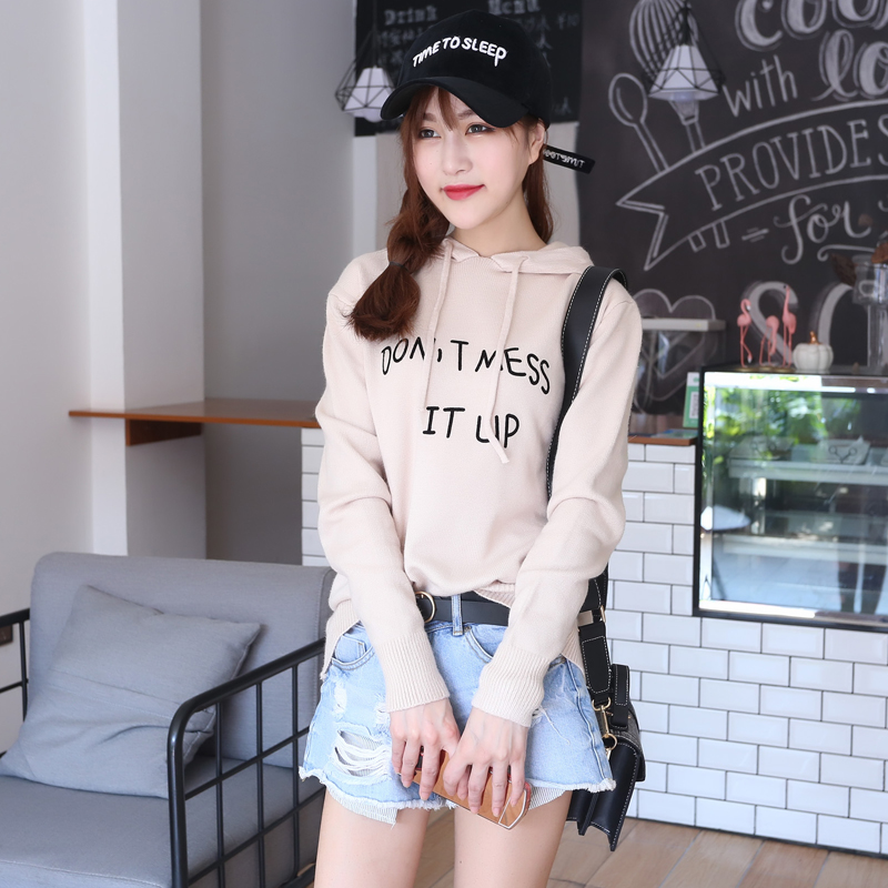 JECH 2018 Spring Autumn Fashion Women Cashmere Wool Big Sweaters Korean Solid Casual Long Sleeve Hooded Pullovers Knitted Top