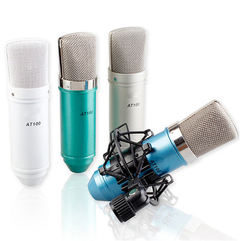 SENRHY AT100 Condenser Studio Microphone Sound Recording Microphone Kit Microphone+Shock Mount +Connecting Cable+ Boot+Manual 3 5mm jack audio condenser microphone mic studio sound recording wired microfone with stand for radio braodcasting singing