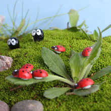 10Pcs/lot Miniature Garden pot Ladybird Ladybug beetle cartton Garden adhesive garden decor Ornament Figurine Fairy Dollhouse(China)