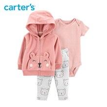 de75e3eed Carters 3Pcs baby girl clothes set pink bear hooded long sleeve jacket  cotton bodysuit pants autumn