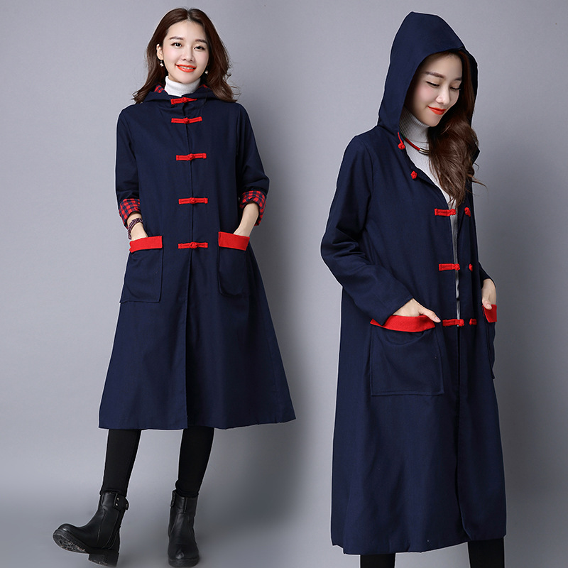 hooded trench coat women long trench coats winter linen cotton trench femme navy blue trench. Black Bedroom Furniture Sets. Home Design Ideas