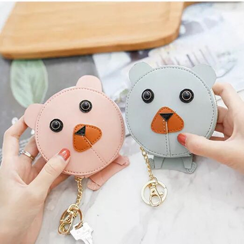 New design Mickey head wallets women wallets small cute cartoon kawaii card holder key chain money bags for girls ladie 2018