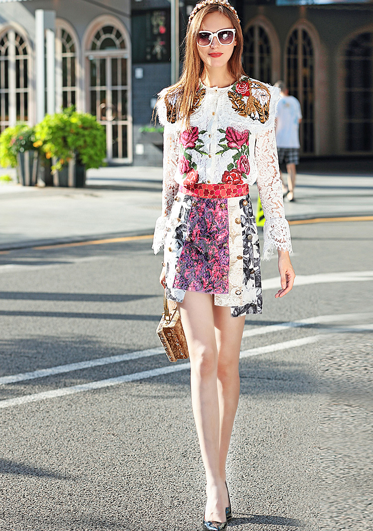 New Catwalk Fashion Milan Designer Runway 2018 Spring Women'S Party Office Vintage Long Sleeves Lace Embroidery Half Skirt Set