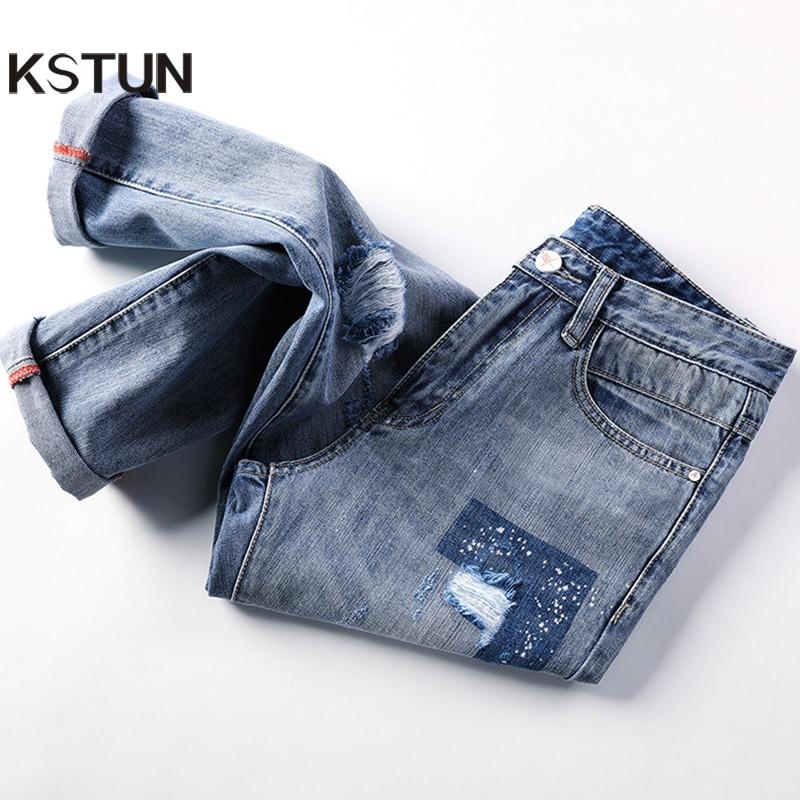 KSTUN Mens Jeans Korean Style Thin Cotton Ripped Distressed Painted Denim Jean Man Jogger Hiphop Broken Jeans Length 90cm-97cm