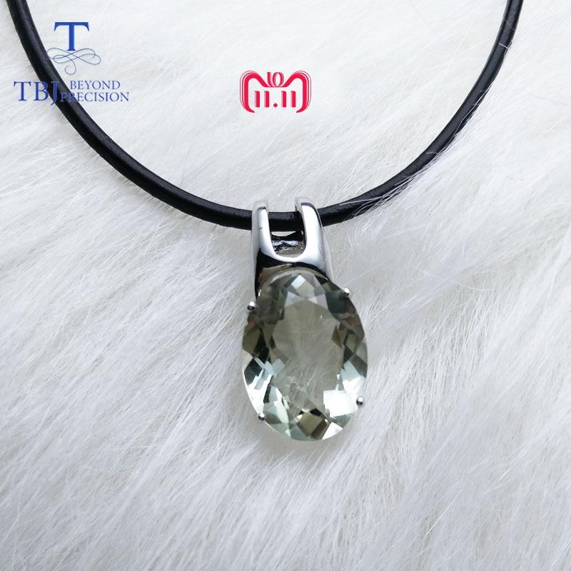 TBJ, simple et élégant pendentif avec naturel vert améthyste pierres précieuses en 925 en argent fin bijoux pour femmes & lady comme cadeau