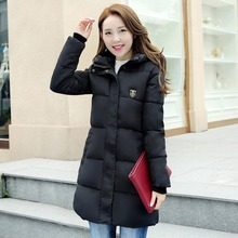Free Shipping Winter Warm Coat LongThick Jacket For Lady Slim Fit Trench Coat With Chest Badge Hooded Coat Female