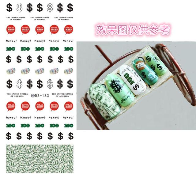 Diy New Design Water Transfer Nails Art Sticker Cute Us Dollars