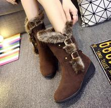 New fashion 2016 winter women boot slope with snow boot real suede fur Martin boots Warm women's shoe length Knight boots