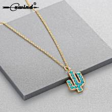 Cxwind Attractive Minimalist Geometric Plant Necklaces New Cute Charm Stylish Prickly Pear Cactus Necklace Pendant(China)