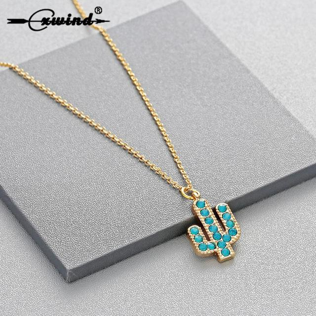 Cxwind Attractive Minimalist Geometric Plant Necklaces New Cute Charm Stylish Prickly Pear Cactus Necklace Pendant