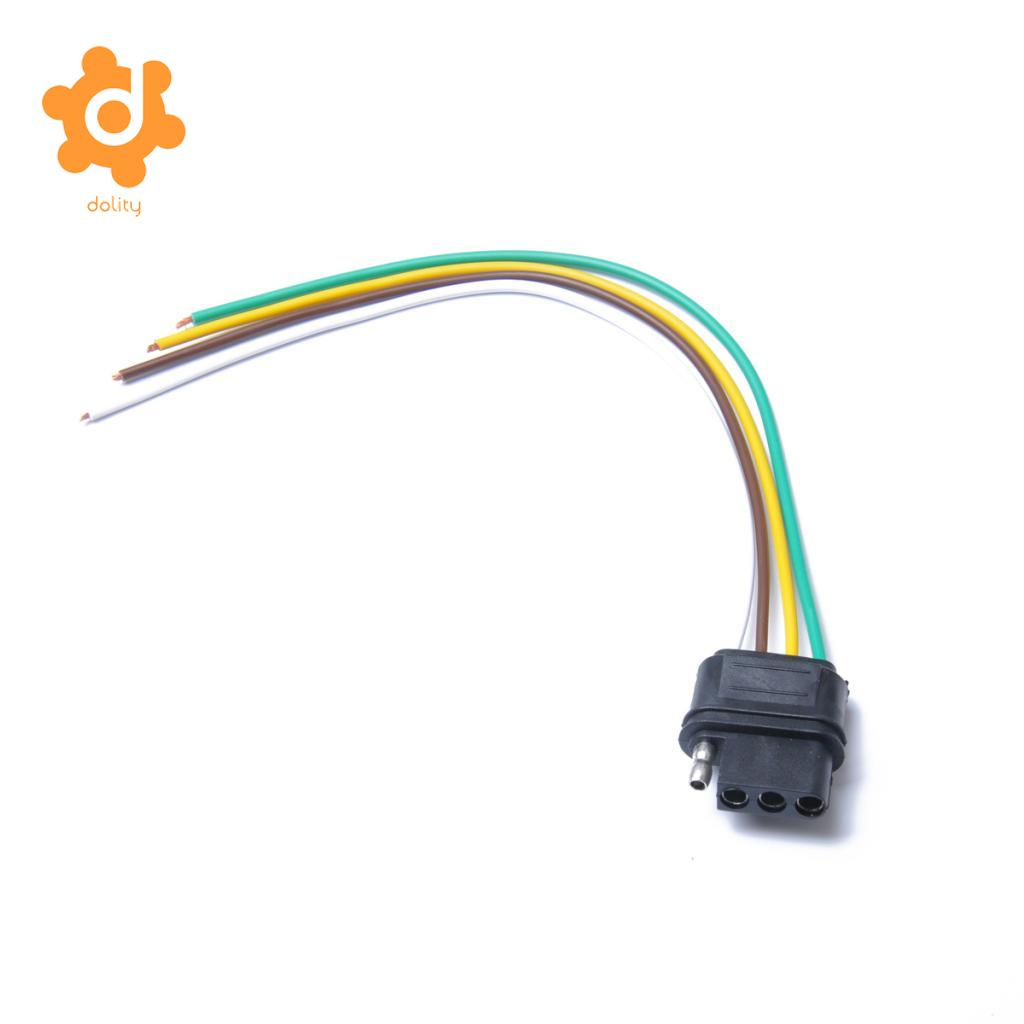 dolity 4 Pin Plug 18 AWG Trailer Light Flat 220mm Wiring Harness Connector US Plug dolity 4 pin plug 18 awg trailer light flat 220mm wiring harness
