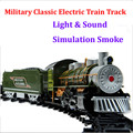 Super military armed classical  electric train track kids toys with sound light and realistic smoke steam brinquedo menino