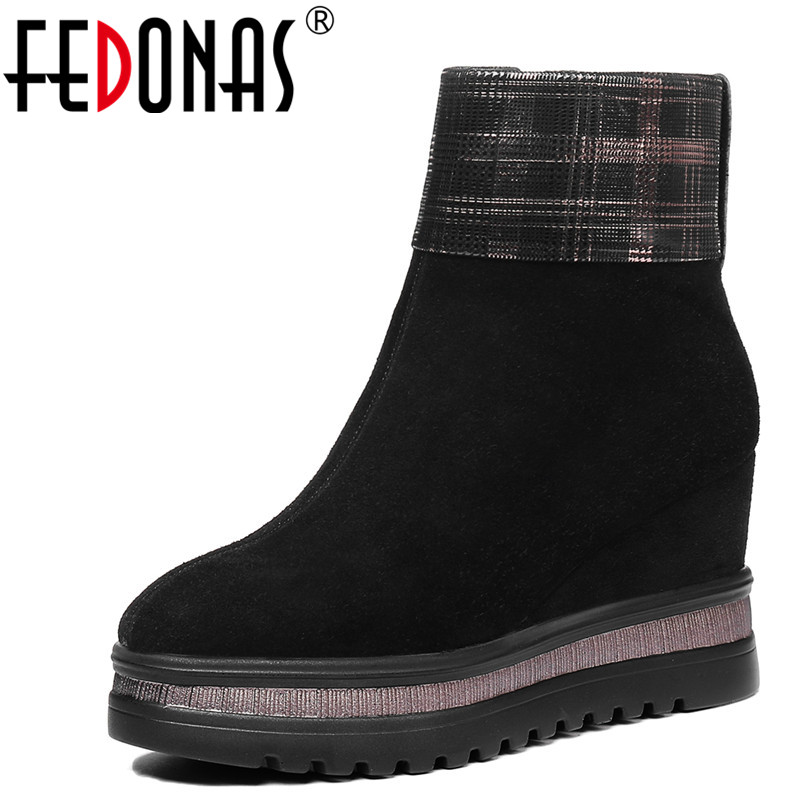 FEDONAS 1Fashion Women Ankle Boots Party Dancing Wedges High Heels Shoes Woman Cow Suede Autumn WInter Warm Casual Ladies BootsFEDONAS 1Fashion Women Ankle Boots Party Dancing Wedges High Heels Shoes Woman Cow Suede Autumn WInter Warm Casual Ladies Boots