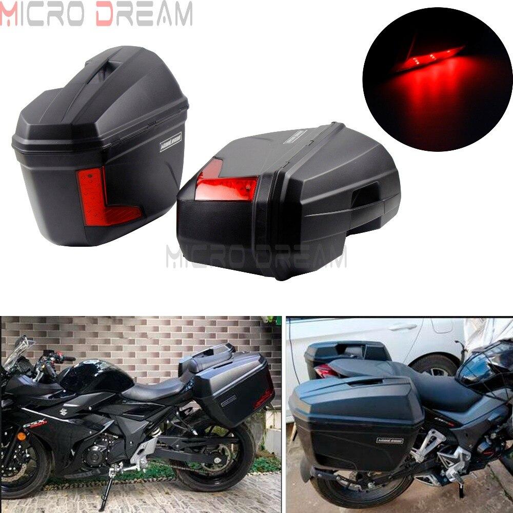 645c3280b02b Мотоцикл сзади Чемодан случае стороны сумки Жесткий Паньер брюки-карго сумки  w/Универсальный светодиодный