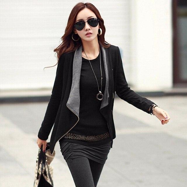 Alishebuy Spring Autumn Women Fashion Korean Style Slim Long Sleeve Lapel Asymmetric Side Zipper Outwear Black Cardigan Coat