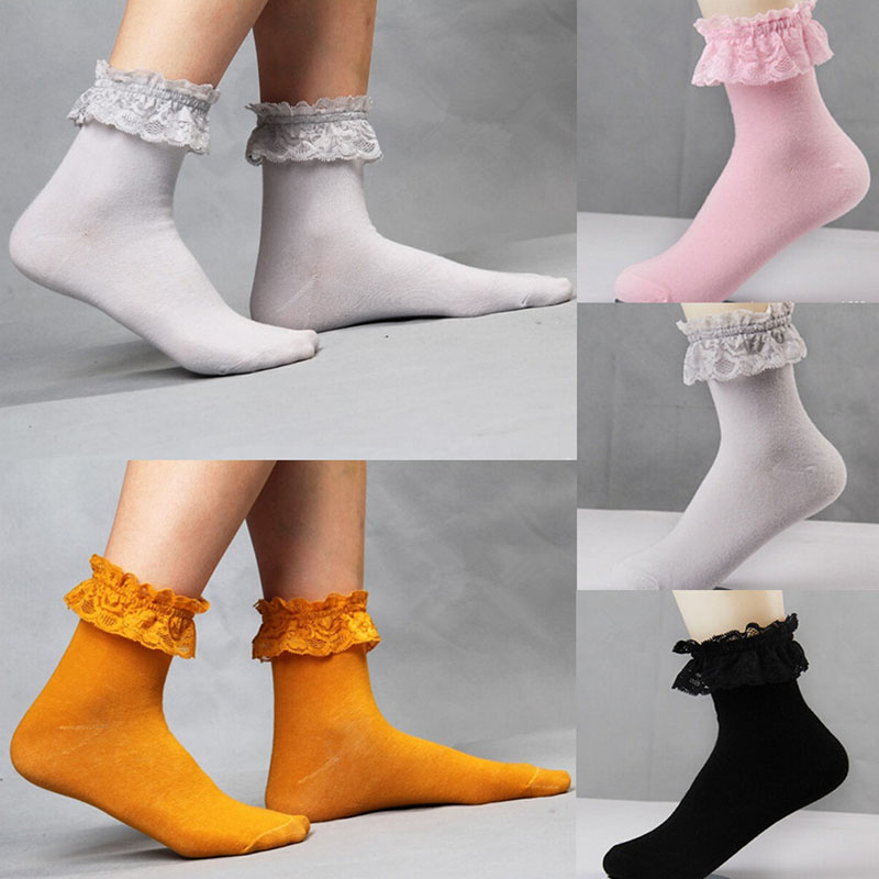 best deals on official store on feet shots of US $1.2 32% OFF|1 Pair Fashionable Vintage Lace Ruffle Frilly Ankle Socks  Fashion Ladies Princess Girl Black/White-in Socks from Underwear & ...