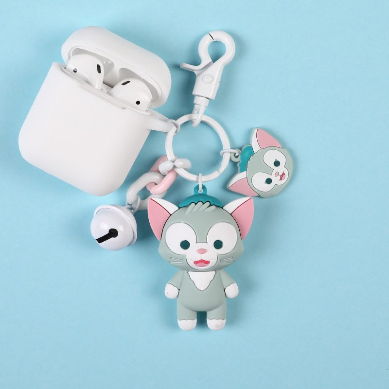 Key chain For Airpods silicone earphone Accessories case Stella Bear Cat Keychain Case Apple Airpods Bluetooth Headphone box
