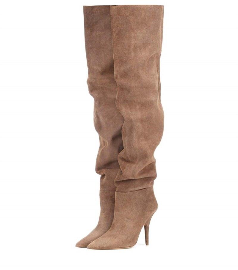 acc5eaef55127 Plissée 35 Talons Longues Mode Hiver Boot Mince Taille Automne Daim Hauts Femmes  Chaussures Hauteur As Genou Bottes ...