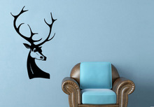 Hot Selling Art Design Deer Head Wall Sticker DIY Removable Vinyl For Living Room Bedroom DecorationY-716