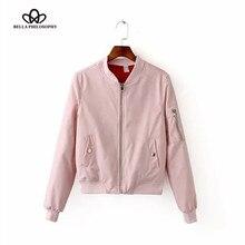 Bella Philosophy 2016 new winter zipper padded women bomber jacket black blue pink gray armygreen